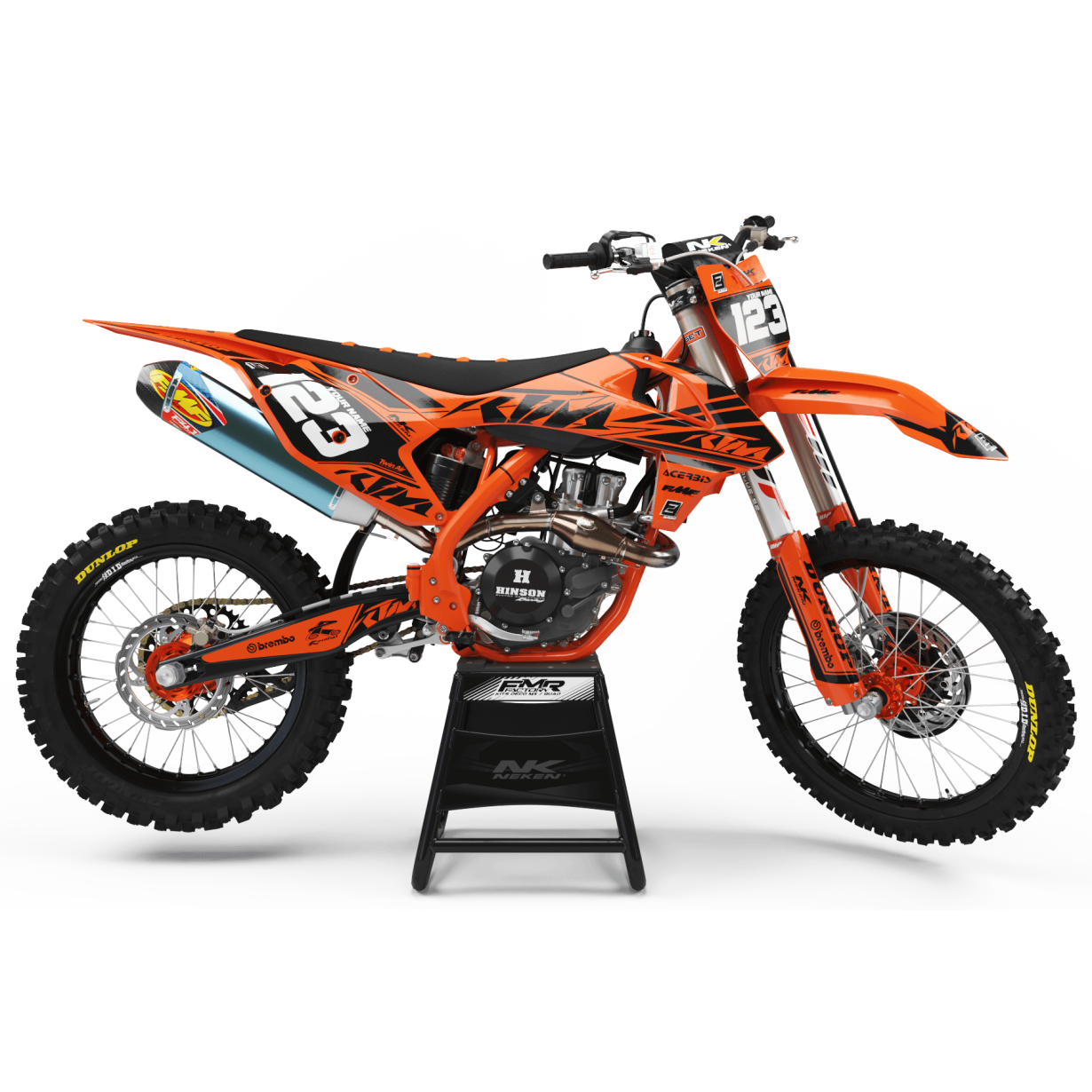Kit déco Perso FACTORY Neken noir/orange MA32C ktm