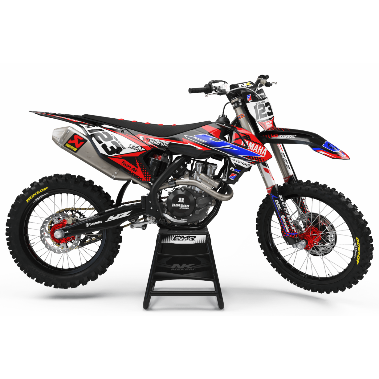 Kit déco Perso FACTORY yamaha ENERGY MA33E2 rouge/bleu