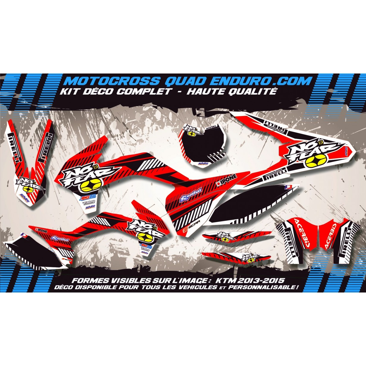 KIT DÉCO Perso WR 250 / 300 07-13 NO FEAR MA5B