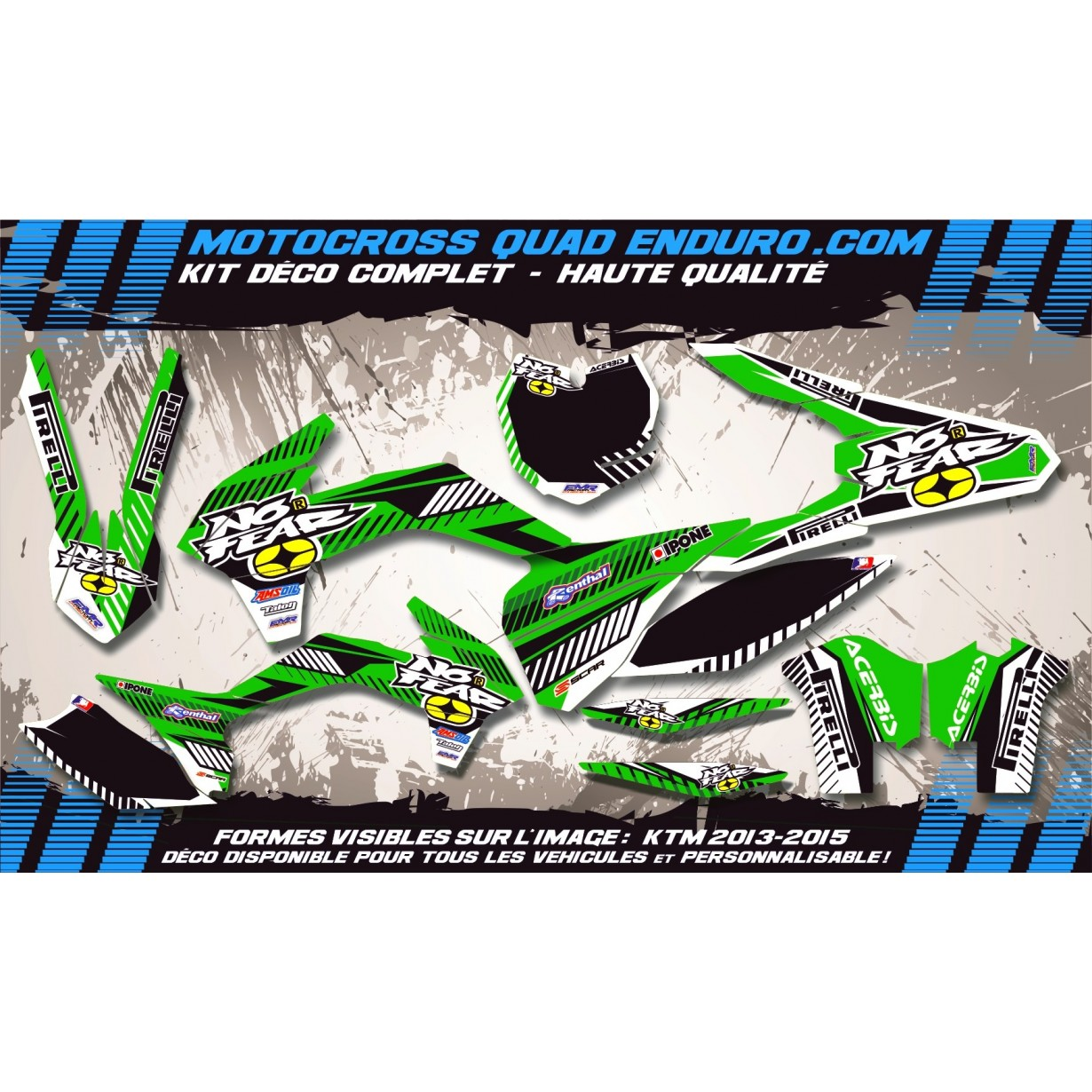 KIT DÉCO Perso 250 KLX 09-14 NO FEAR MA5C