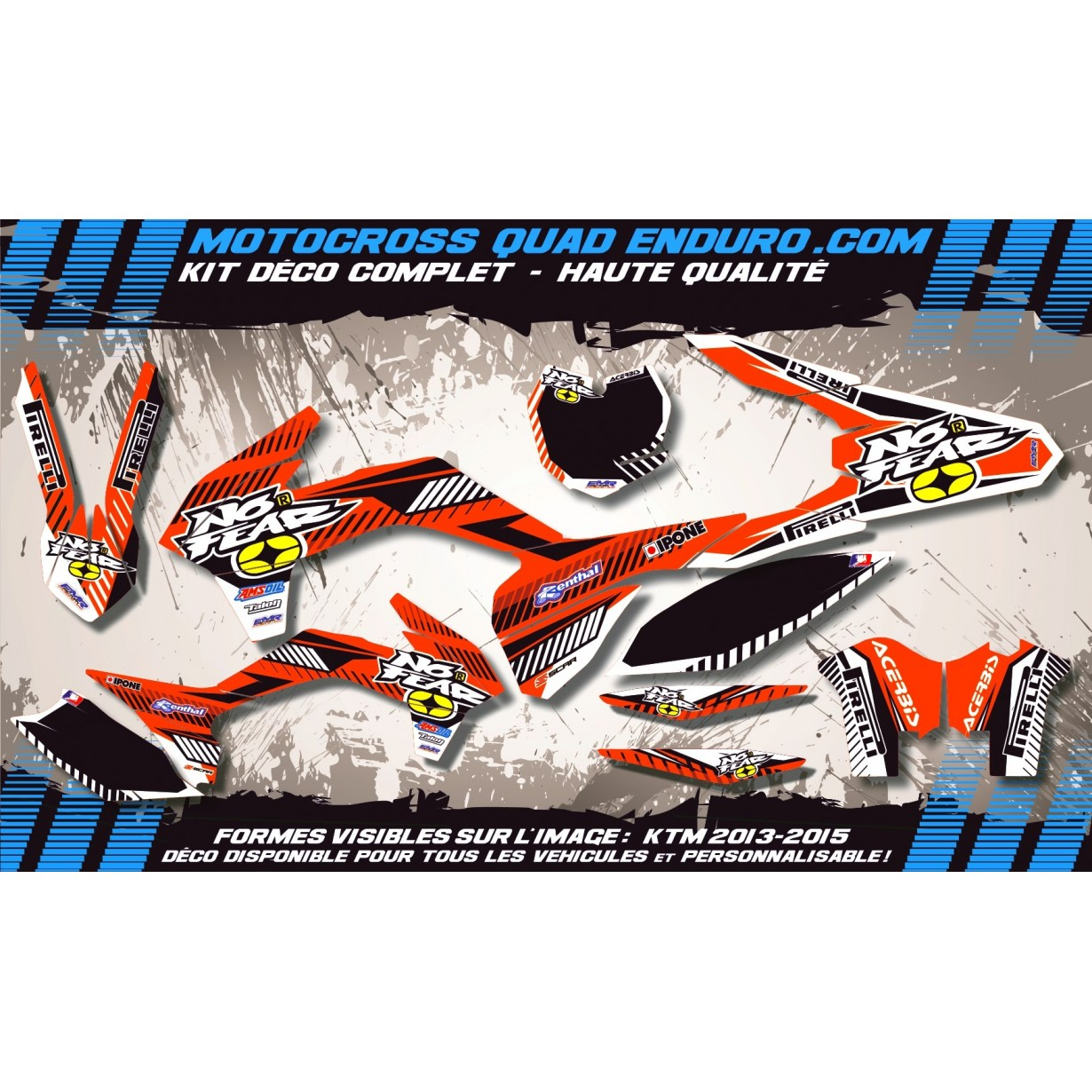 KIT DÉCO Perso 65 SX 09-15  NO FEAR MA5A