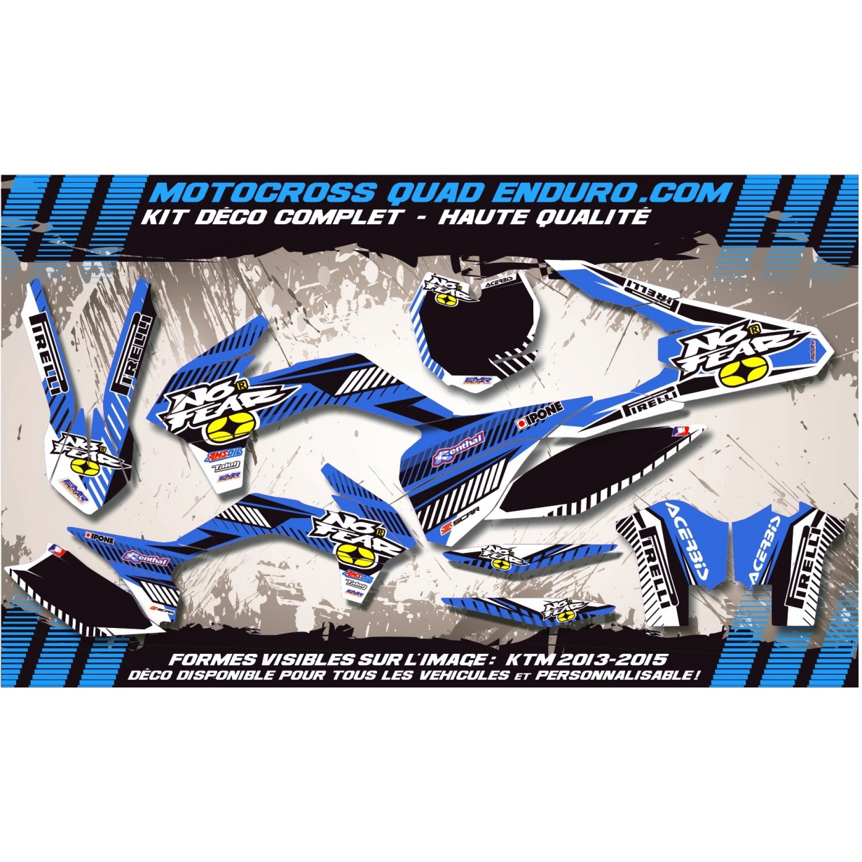 KIT DÉCO Perso 125-250 YZ UFO LOOK 4T 02-14 NO FEAR MA5E