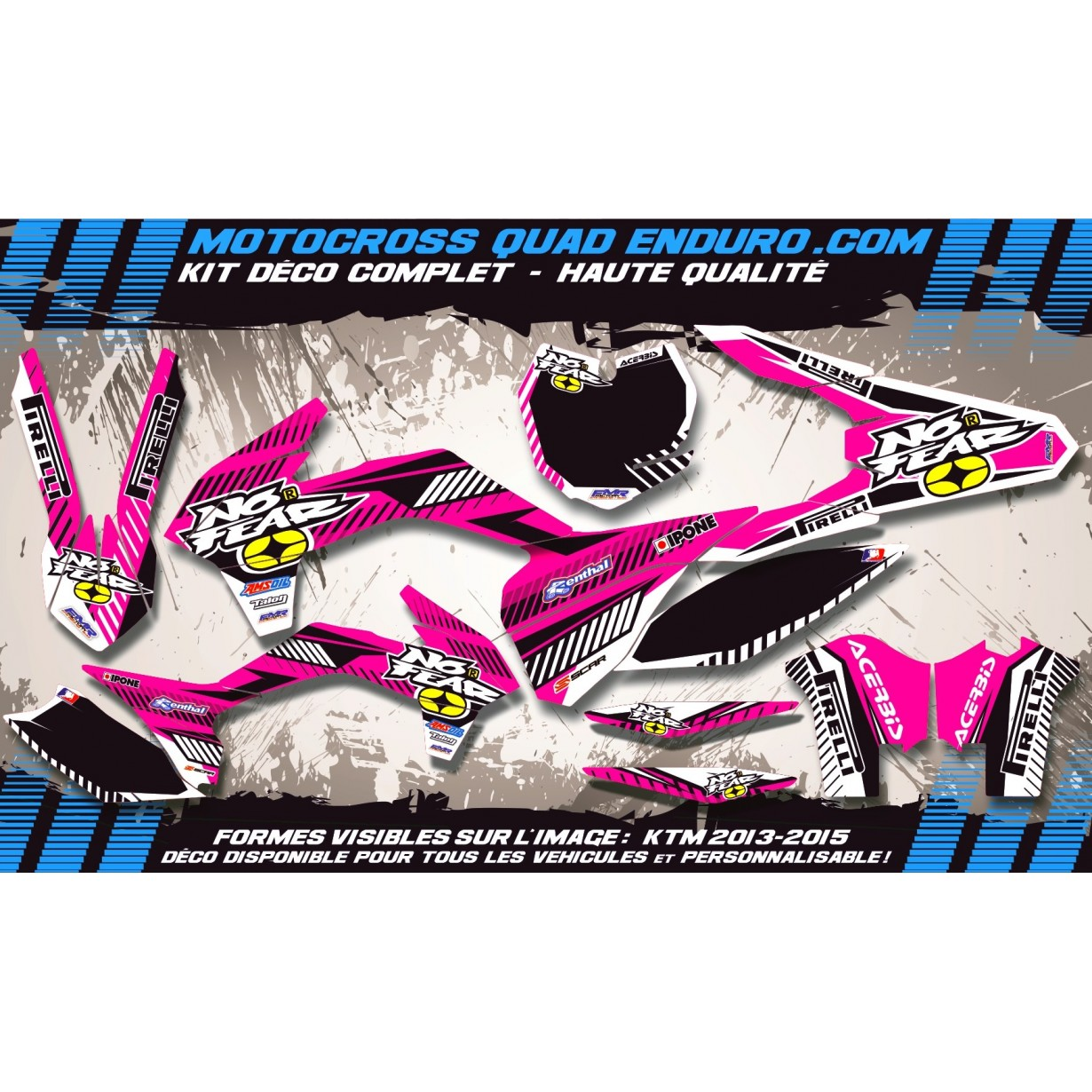 KIT DÉCO Perso 125-250 YZ UFO LOOK 4T 02-14 NO FEAR MA5G