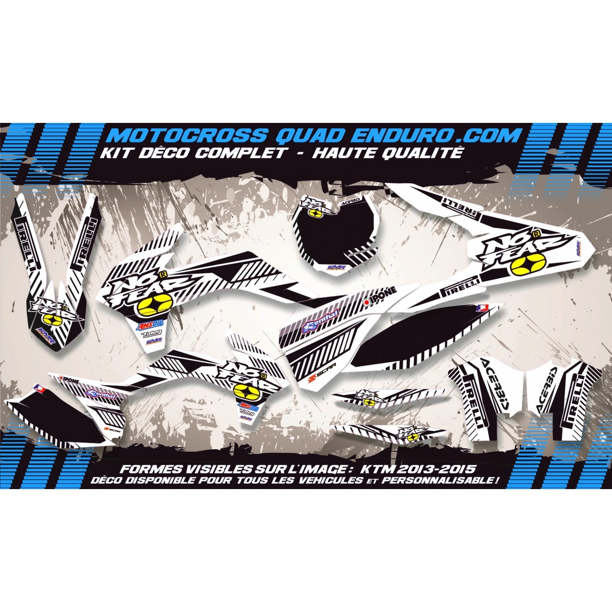 KIT DÉCO Perso 125-250 YZ UFO LOOK 4T 02-14 NO FEAR MA5F