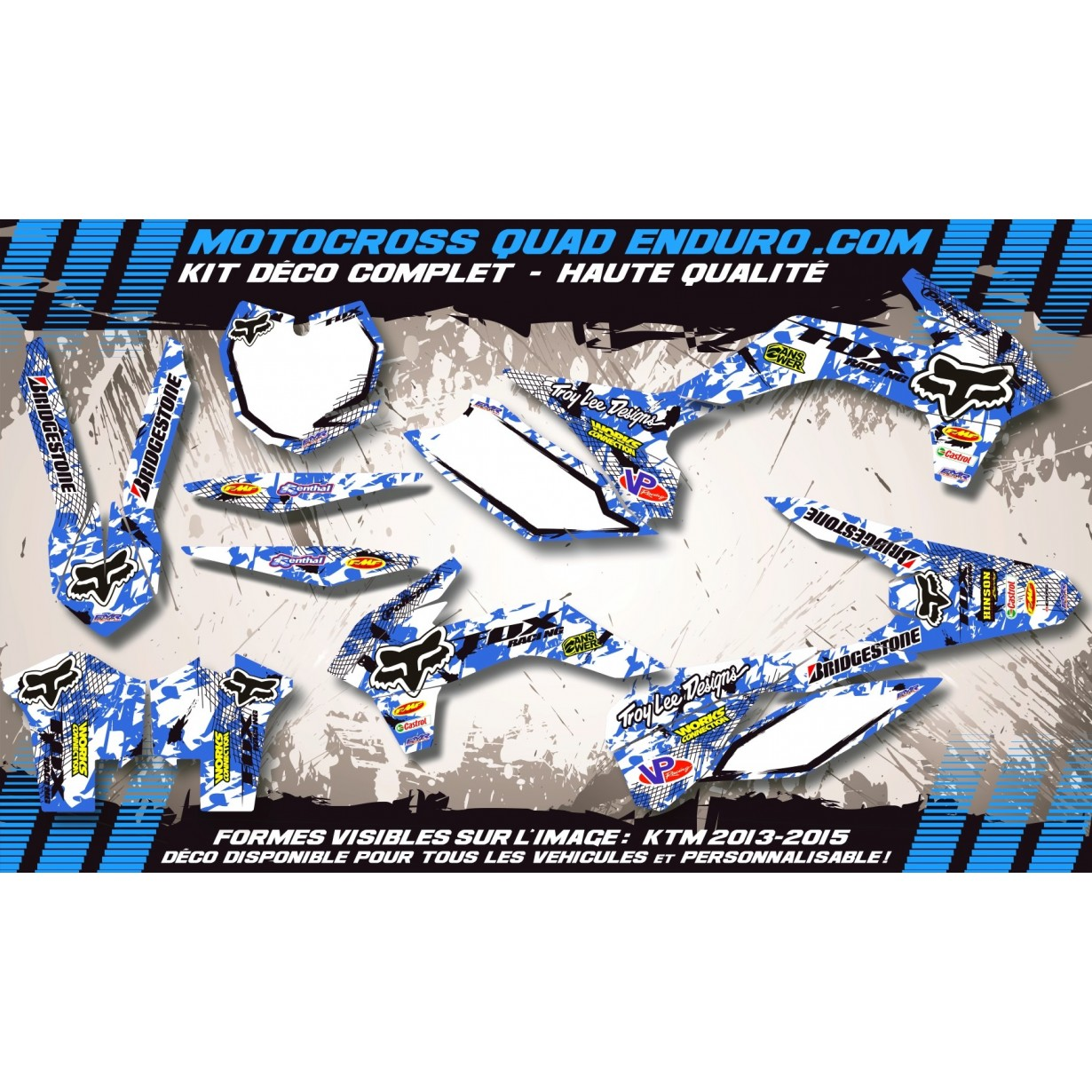 KIT DÉCO Perso 125-250 YZ UFO LOOK 4T 02-14 FOX MA9E