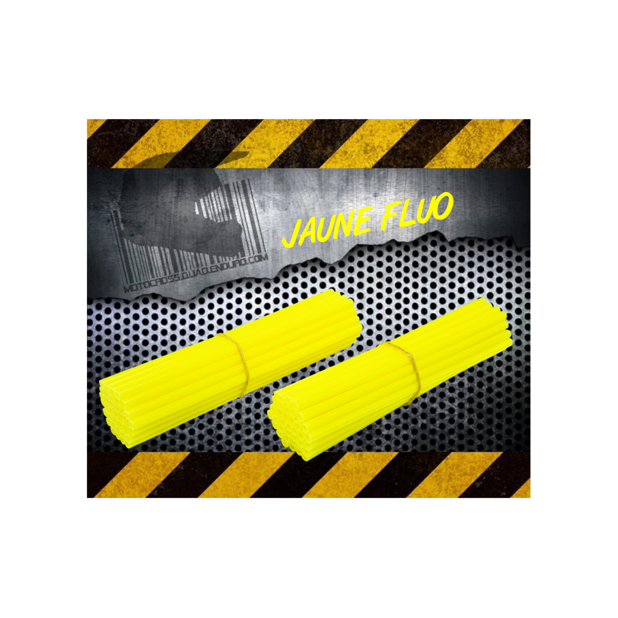 Couvres rayons jaune fluo spoke coats spoke skins 2