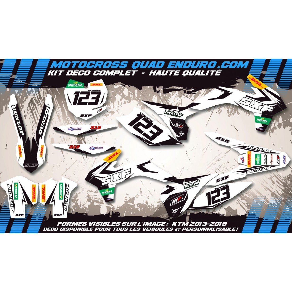 KIT DÉCO Perso XC-SX 450-505-525 QUAD Factory White Edition MA10CW