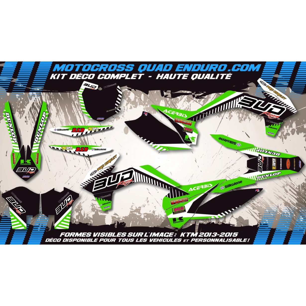 KIT DÉCO Perso 125 / 250 KX 92-93 BUD Racing MA12B