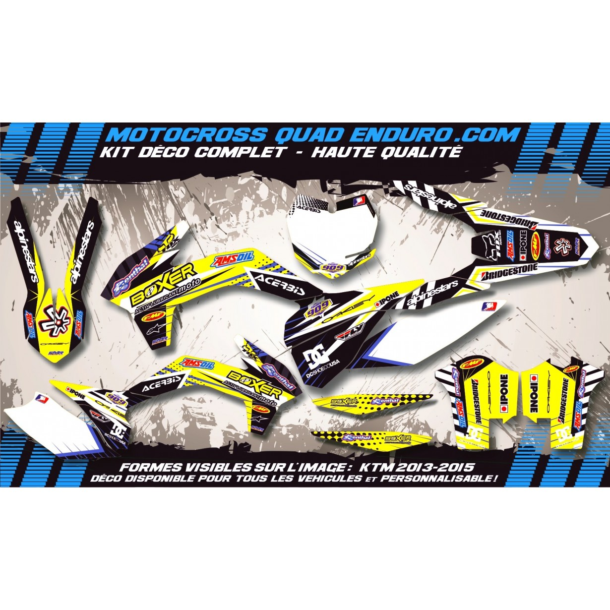 KIT DÉCO Perso 125-250 YZ UFO LOOK 4T 02-14 BOXER MA1D