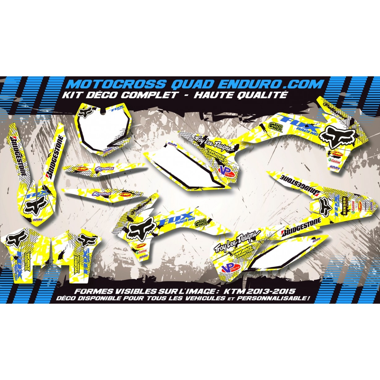 KIT DÉCO Perso 125-250 YZ UFO LOOK 4T 02-14 FOX MA9D