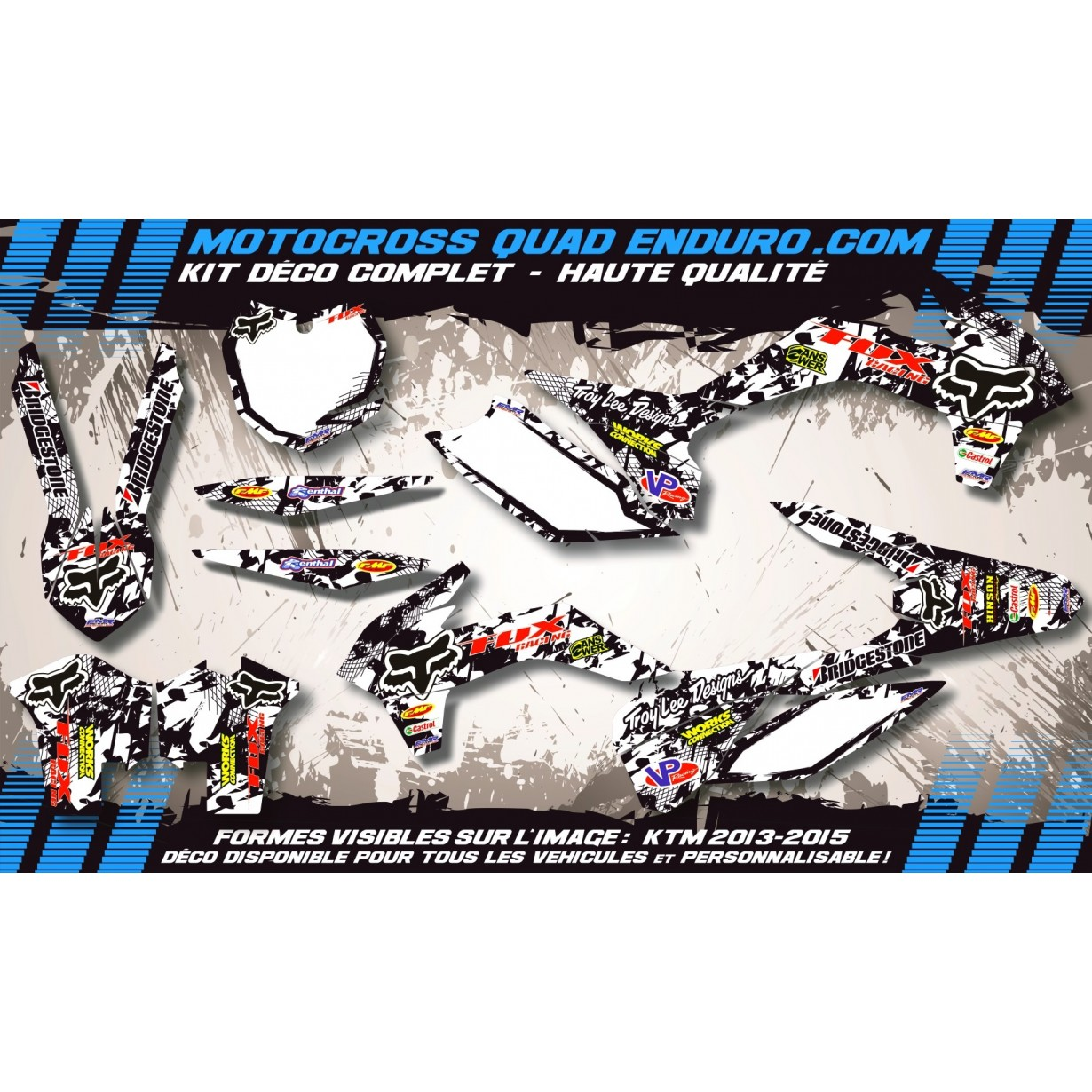 KIT DÉCO Perso 125-250 YZ UFO LOOK 4T 02-14 FOX MA9F