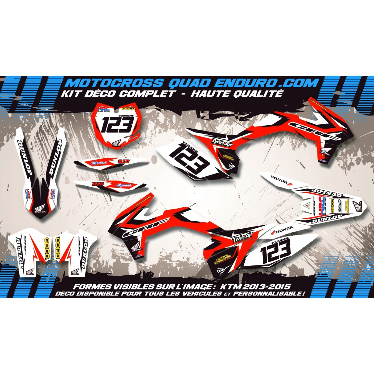 KIT DÉCO Perso 450 CRF 05-08 Factory Replica HONDA MA10A