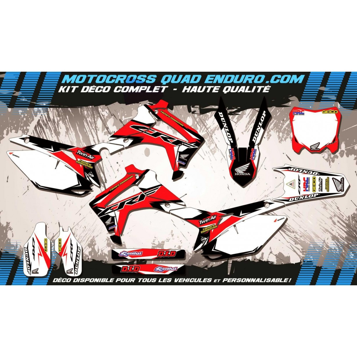 KIT DÉCO Perso 250 CRF 14-18 Factory Replica HONDA MA10A