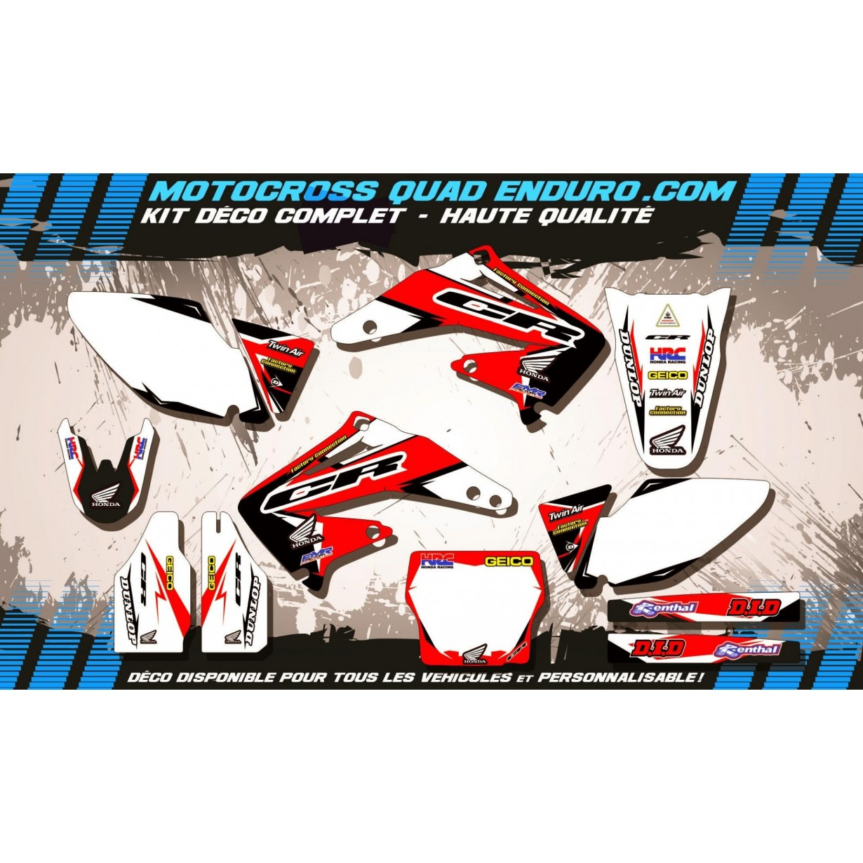 KIT DÉCO Perso 450 CRF 02-04 Factory Replica HONDA MA10A