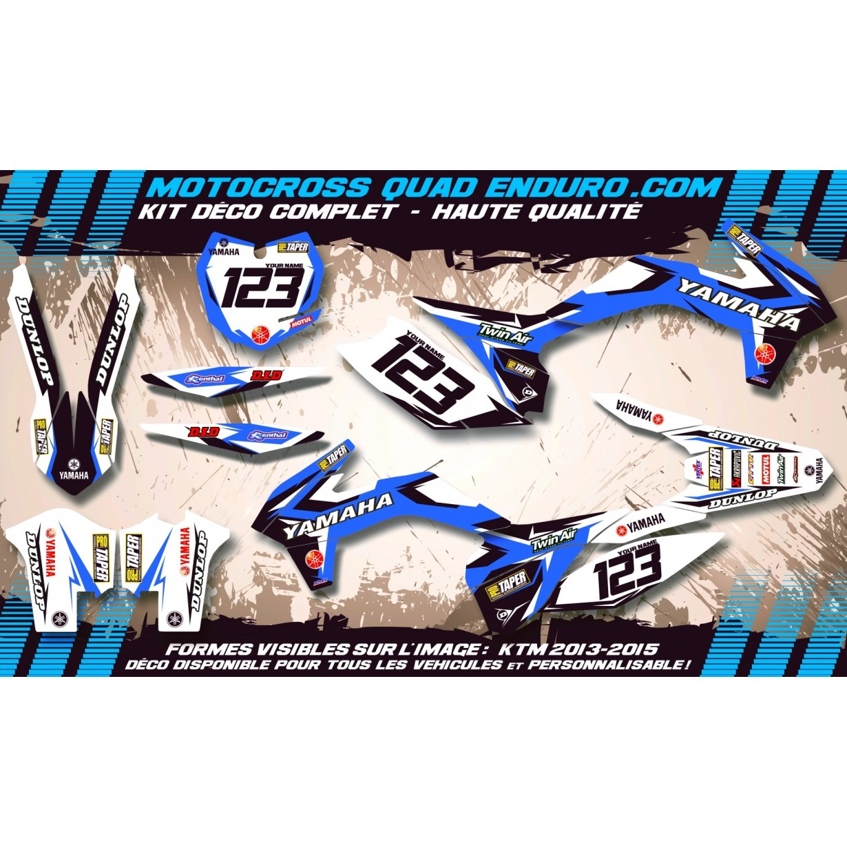 KIT DÉCO Perso 700 RAPTOR 13-18 Quad Factory Replica YAMAHA MA10E