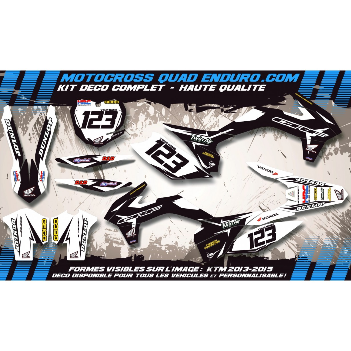 KIT DÉCO Perso 125-250 CR 00-01 Factory Black Edition MA10AB