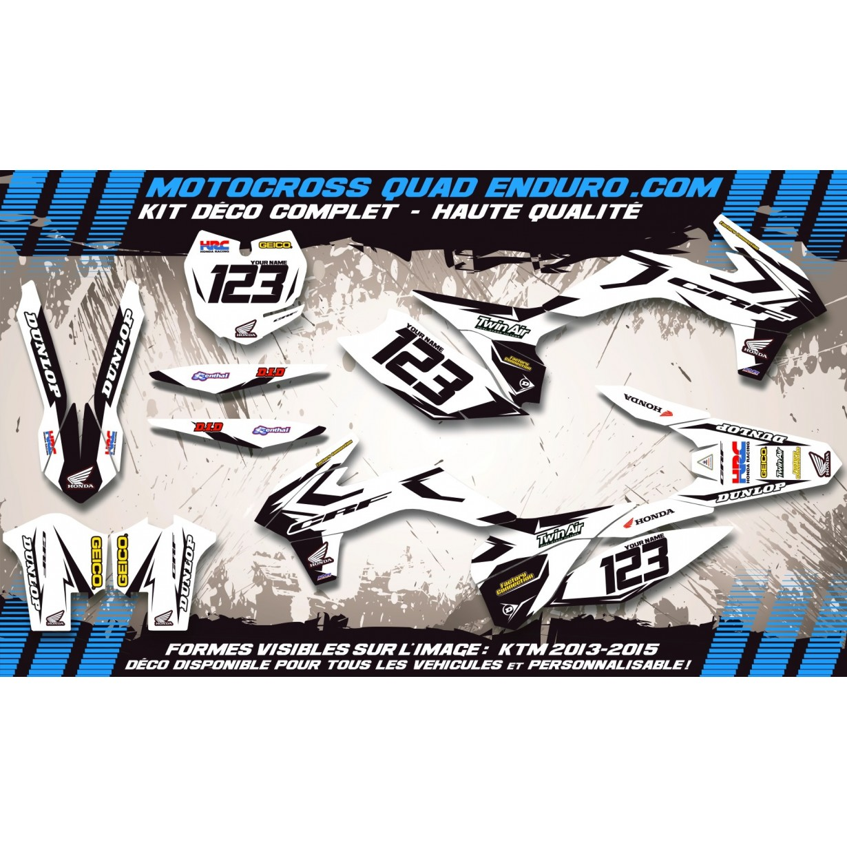 KIT DÉCO Perso 250 CRFx 05-15 Factory White Edition MA10AW