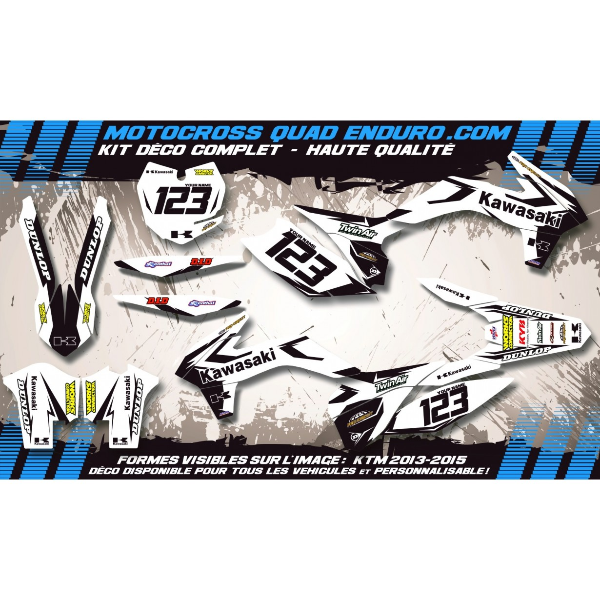 KIT DÉCO Perso 450 KLX 08-18 Factory White Edition MA10BW