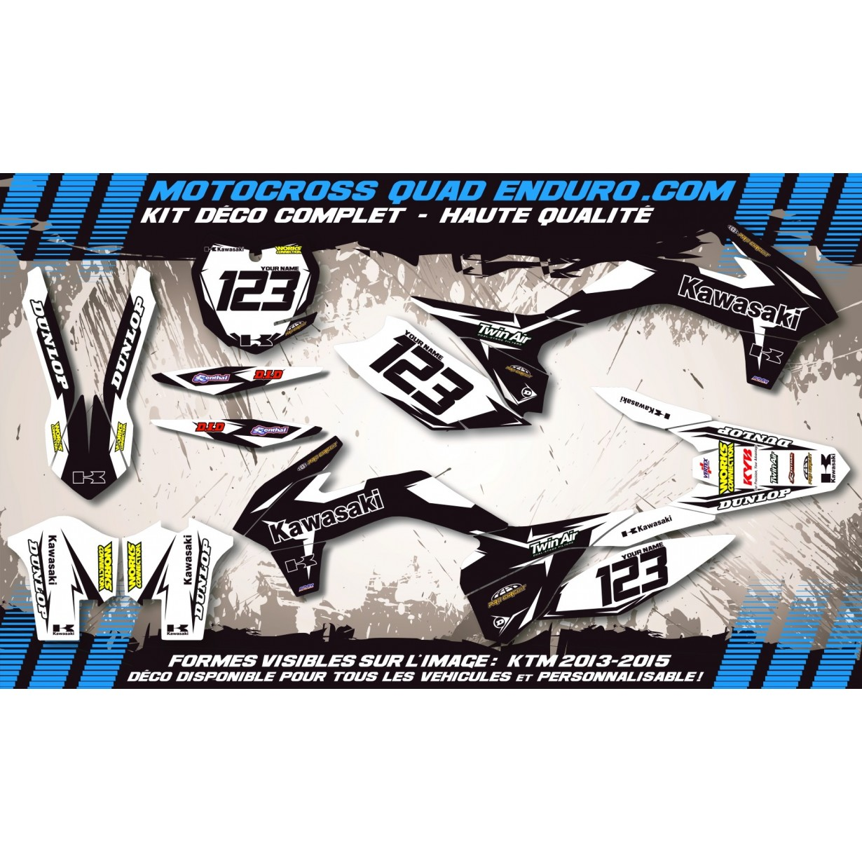 KIT DÉCO Perso 125 / 250 KX 90-91 Factory Black Edition MA10BB