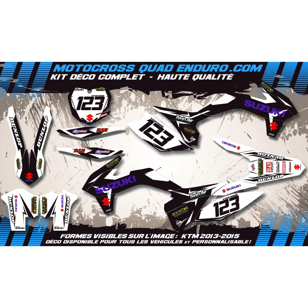 KIT DÉCO Perso 65 RM et 110 DRZ Factory Black Edition MA10DB