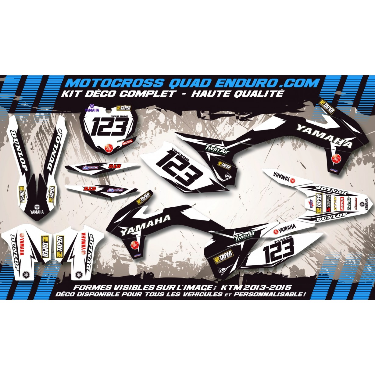 KIT DÉCO Perso 125-250 YZ UFO LOOK 4T 02-14 Factory Black Edition MA10EB