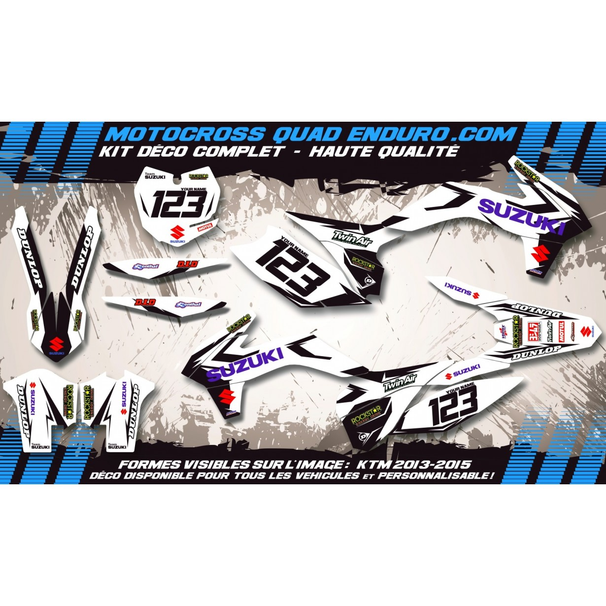 KIT DÉCO Perso 125 / 250 RM 96-98 Factory White Edition MA10DW