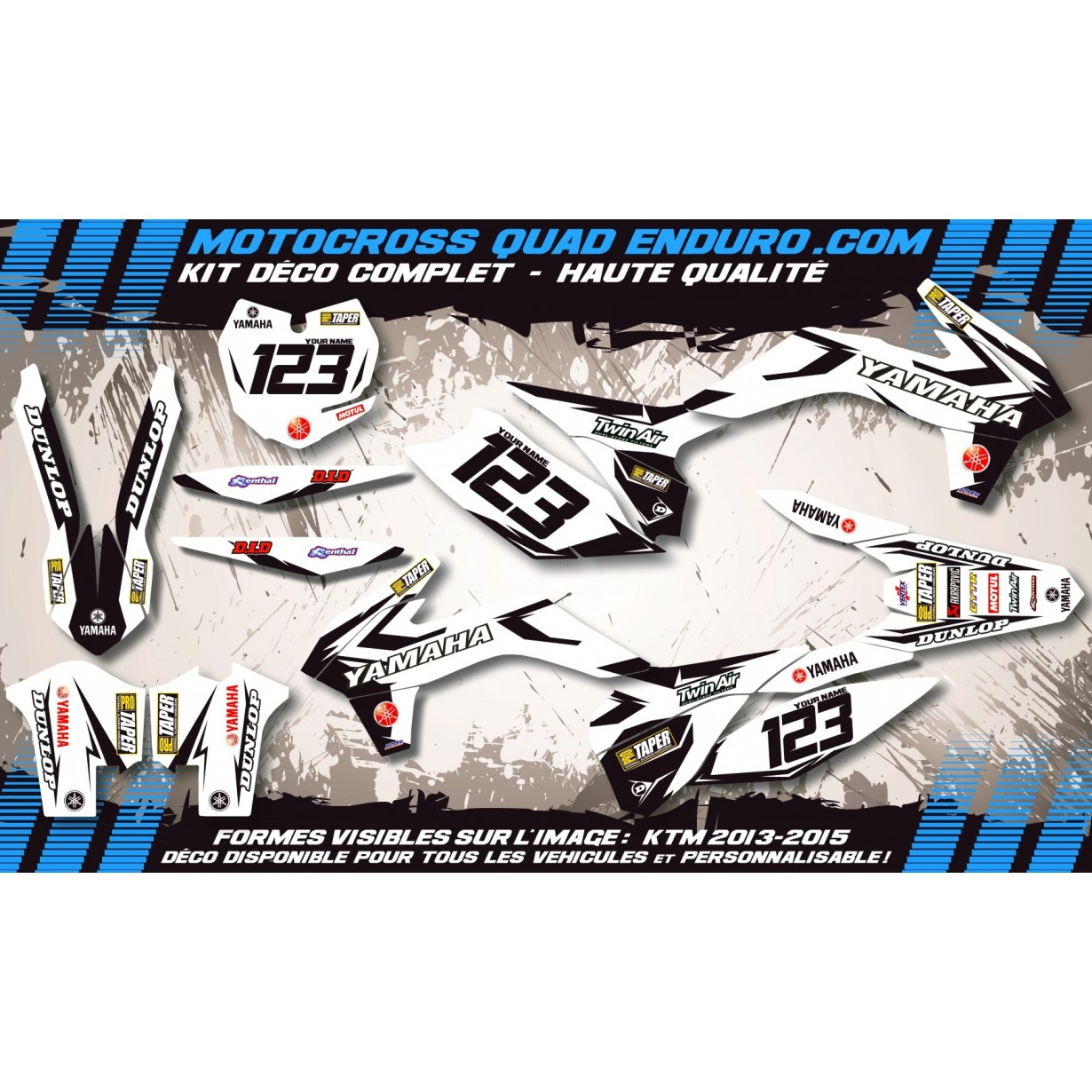KIT DÉCO Perso 125-250 YZ UFO LOOK 4T 02-14 Factory White Edition MA10EW