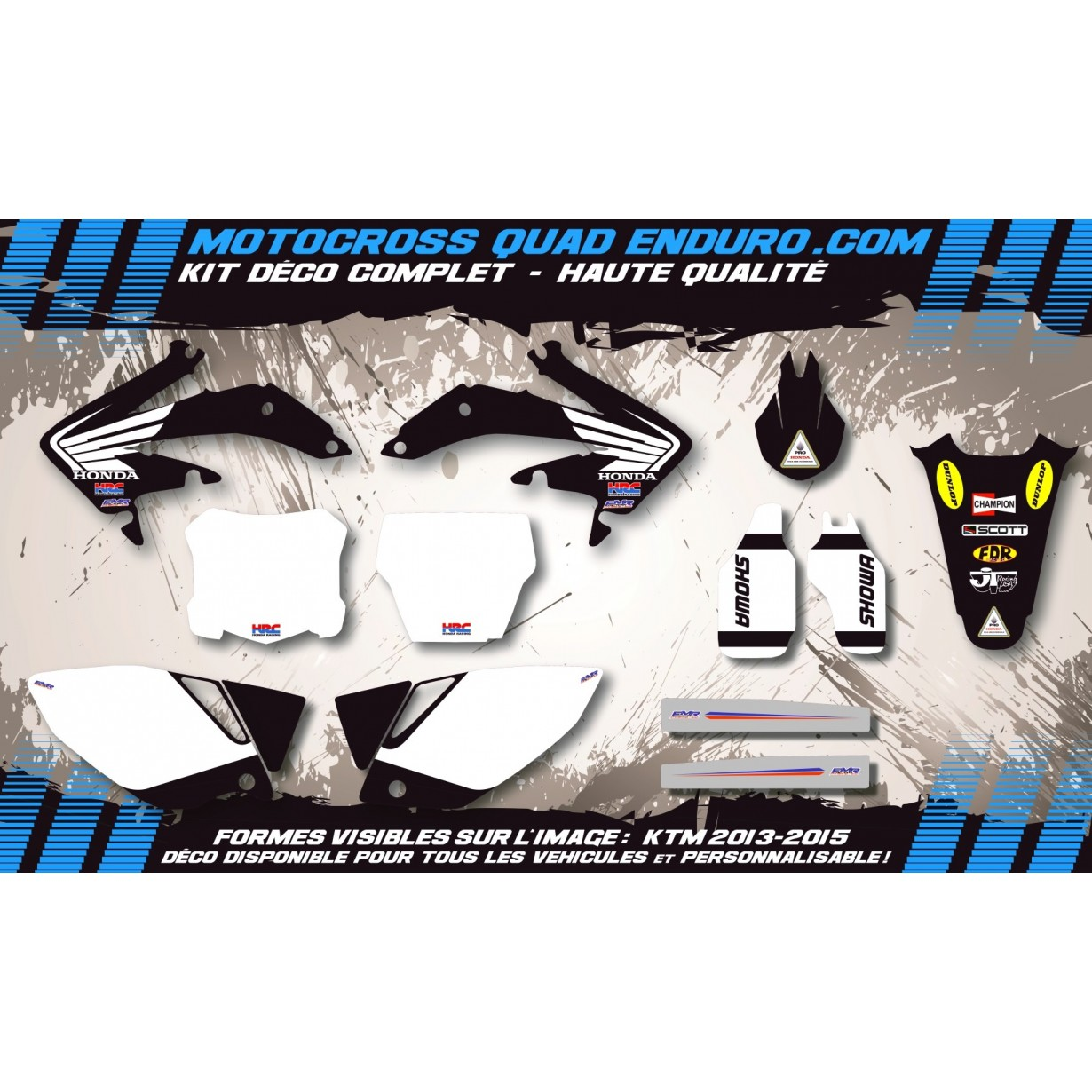 KIT DÉCO Perso 125-250 CR 02-07 Bailey Replica Black Edition MA11AB