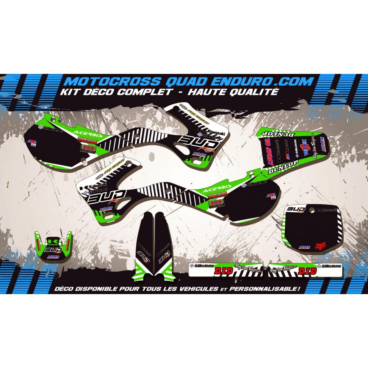 KIT DÉCO Perso 125 / 250 KX 99-02 BUD Racing MA12B