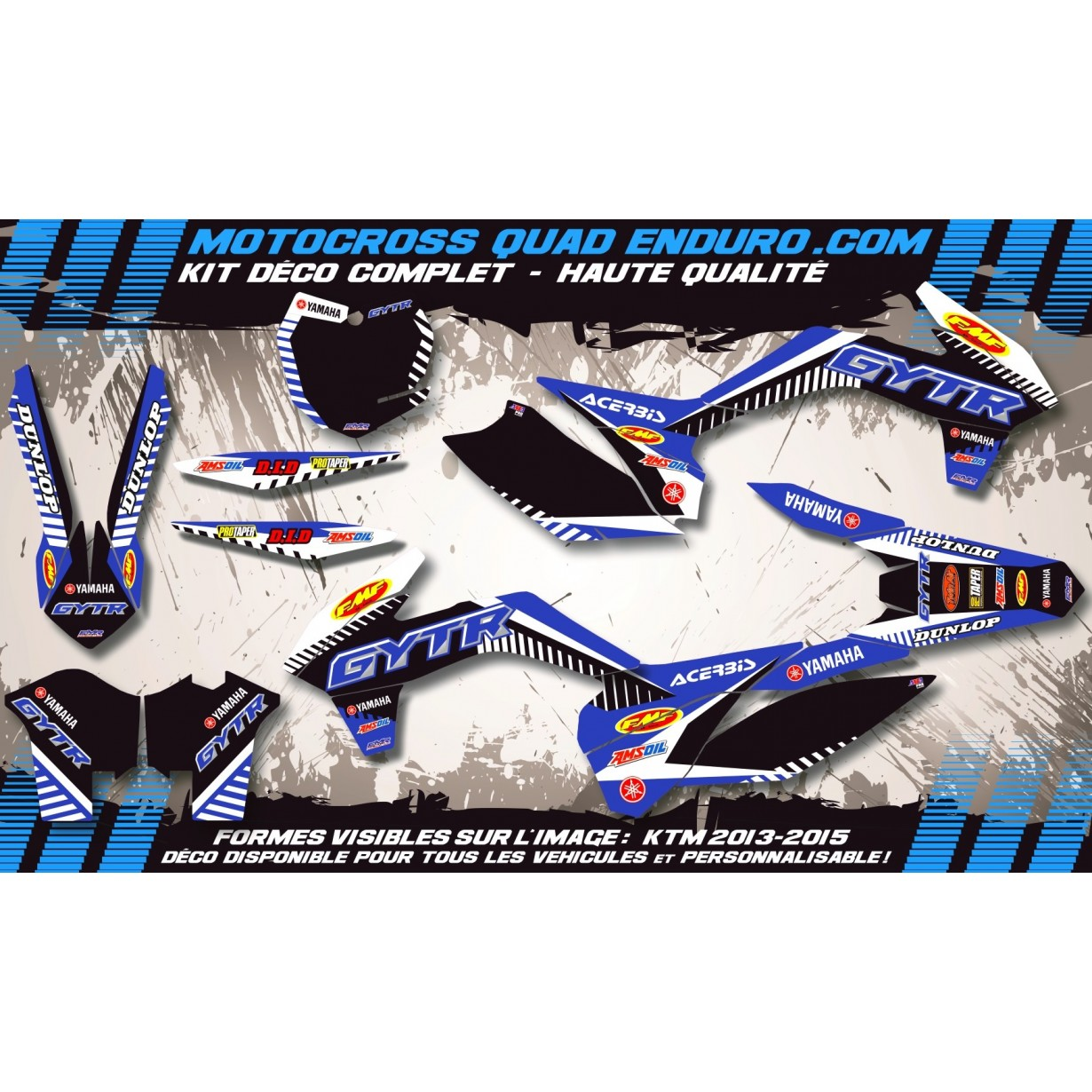 KIT DÉCO Perso 125-250 YZ UFO LOOK 4T 02-14 GYTR MA12E