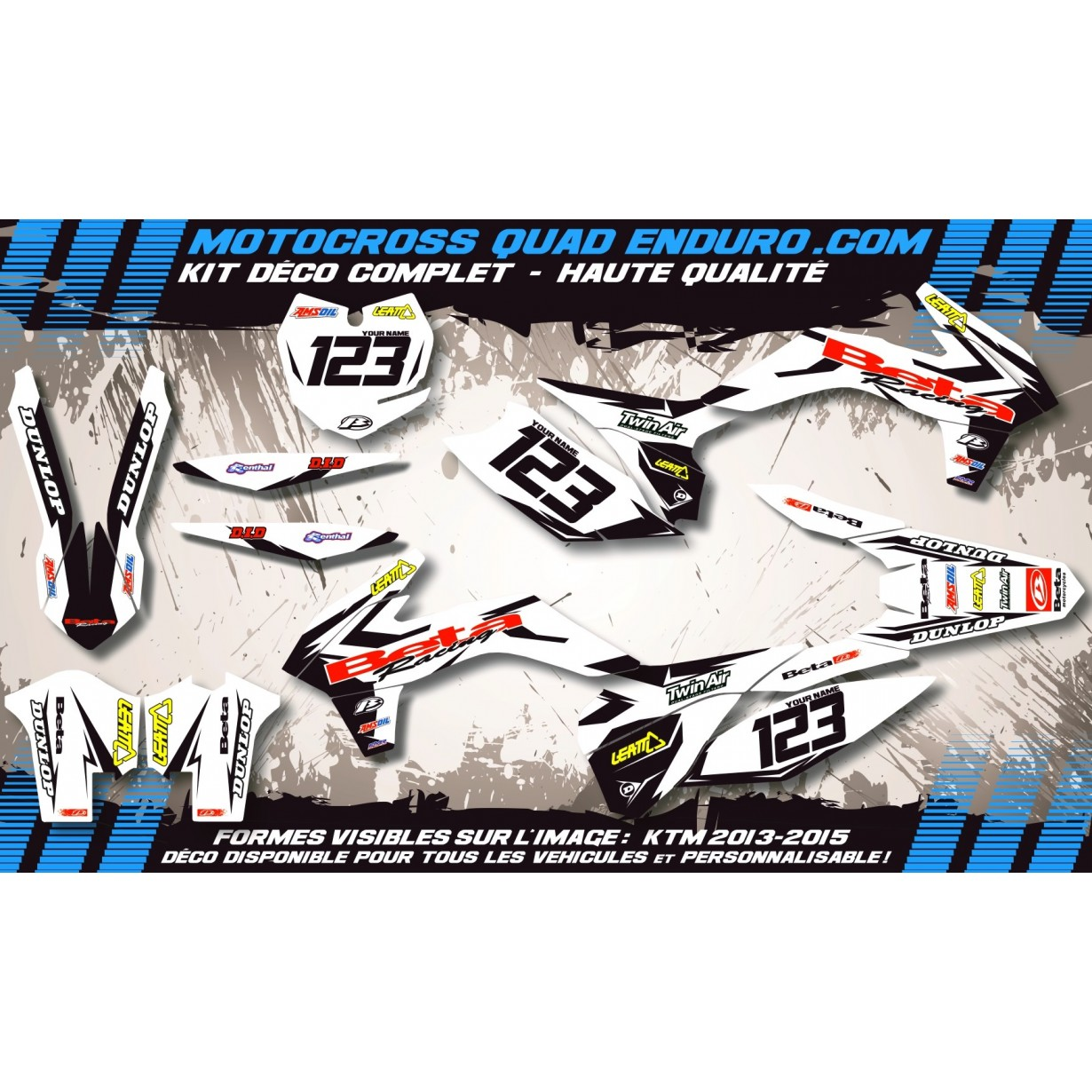 KIT DÉCO Perso 50 RR enduro 2007 Factory White Edition MA10GW