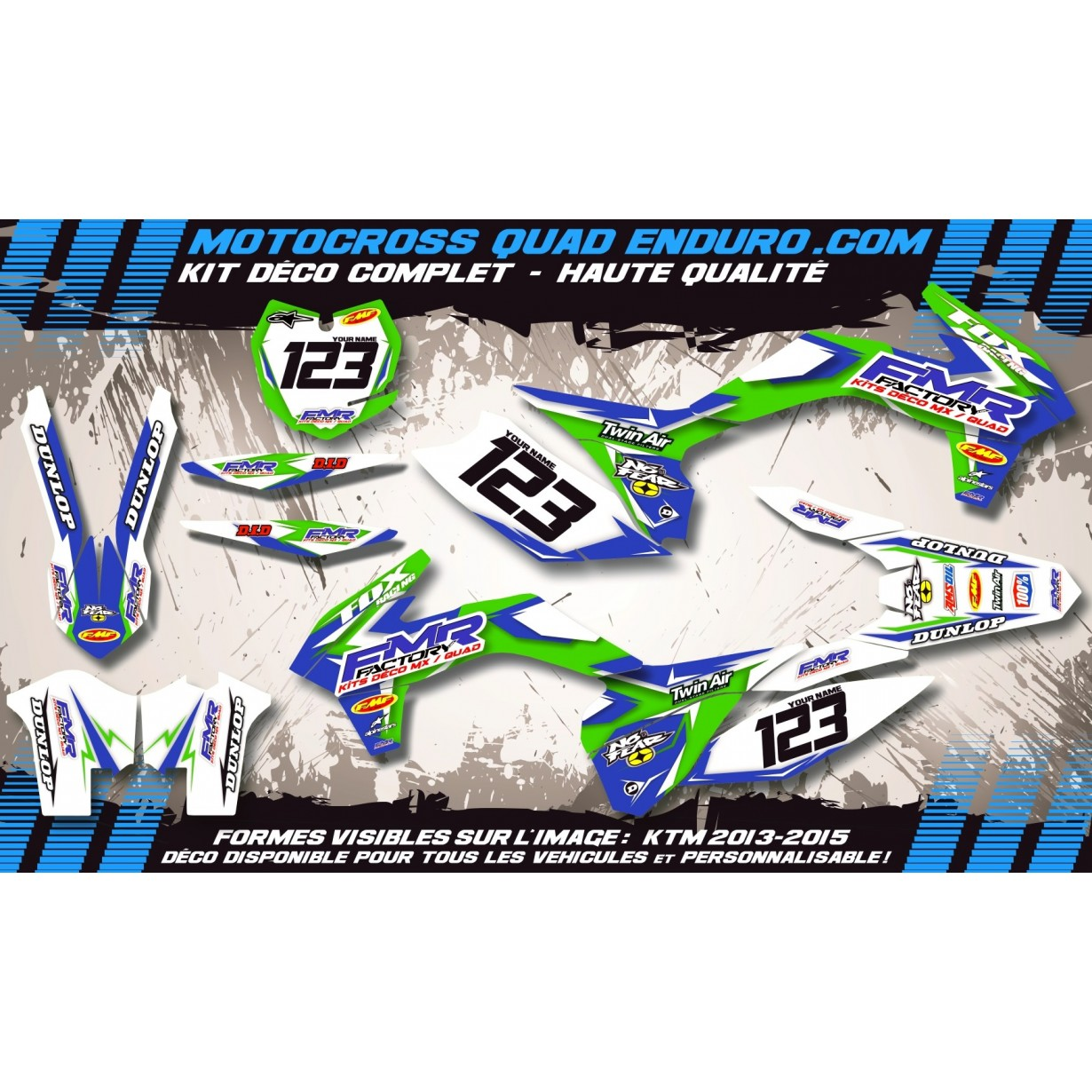 KIT DÉCO Perso 125 / 250 KX 03-08 Fmr Factory MA13B