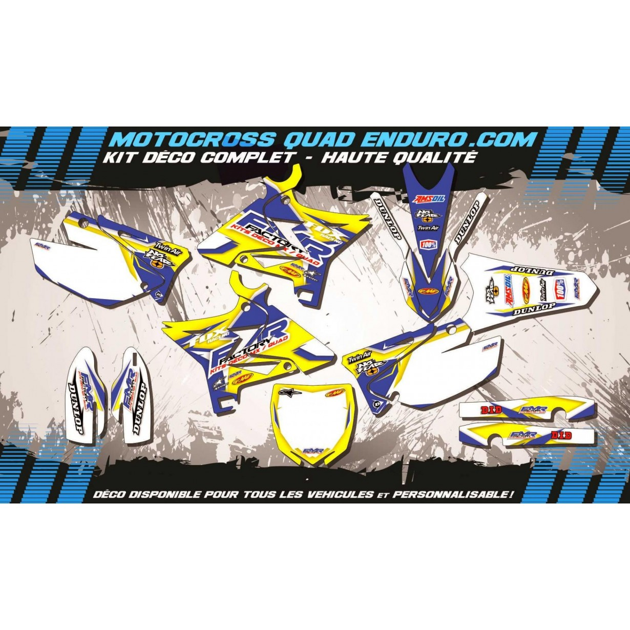 KIT DÉCO Perso 125-250 YZ UFO LOOK 4T 02-14 Fmr Factory MA13D