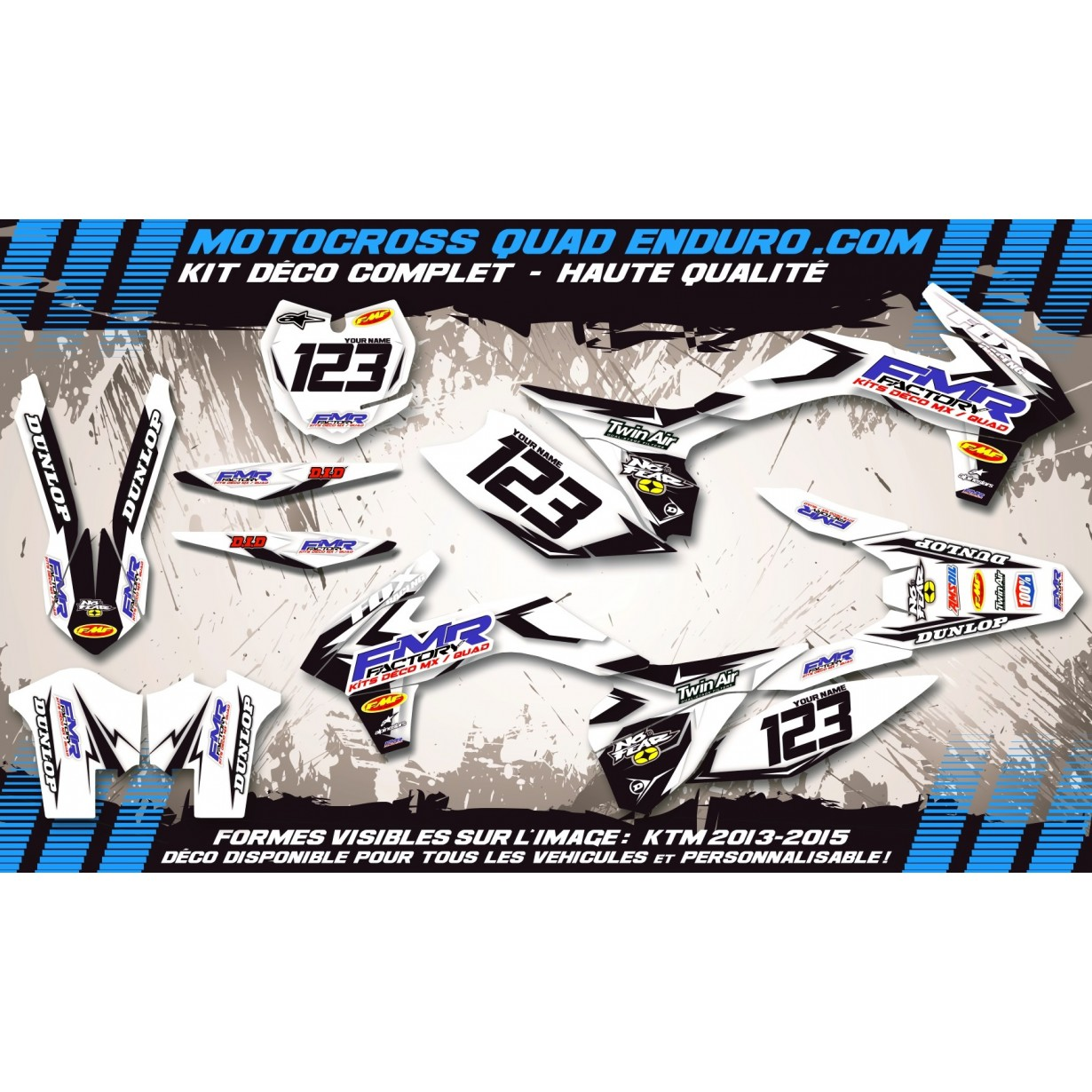 KIT DÉCO Perso 125-250 YZ UFO LOOK 4T 02-14 Fmr factory WT Edition MA13WT