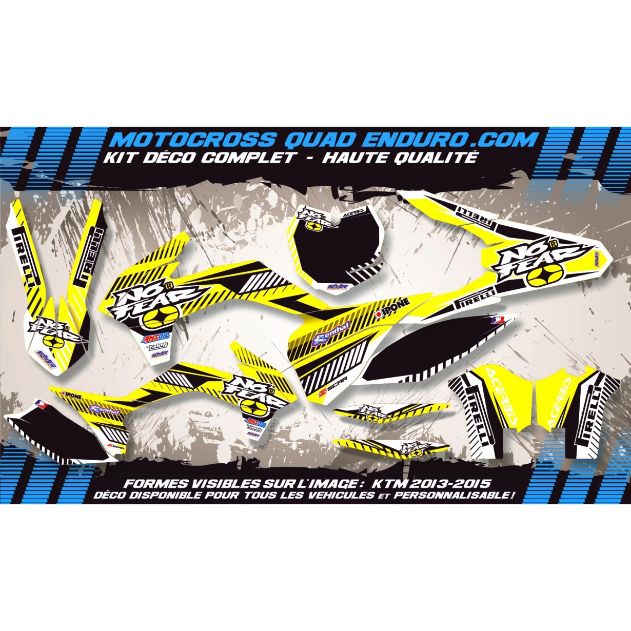 KIT DÉCO Perso 125-250 YZ UFO LOOK 4T 02-14 NO FEAR MA5D