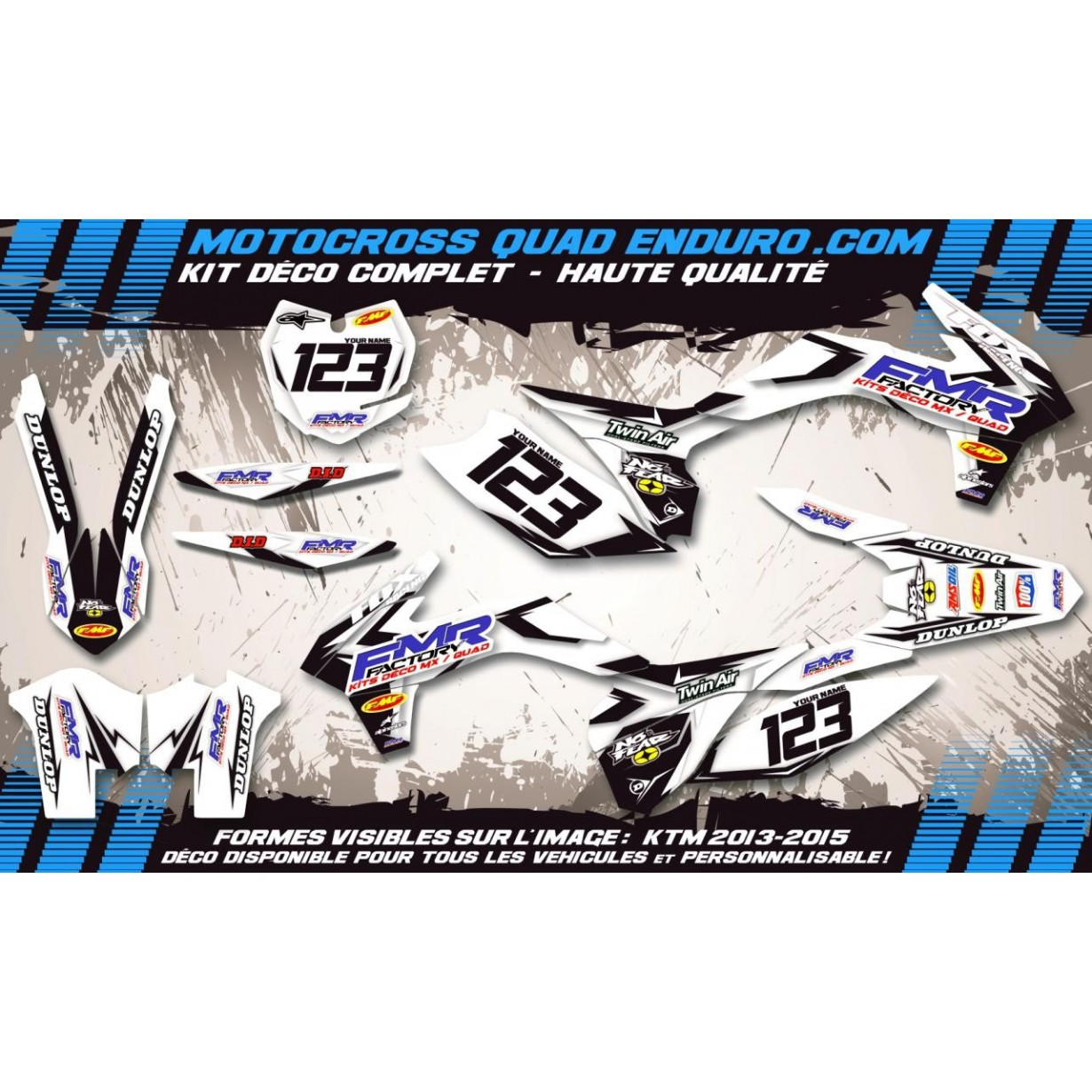 KIT DÉCO Perso 250 RMZ 2018 Fmr Factory WT Edition MA13WT