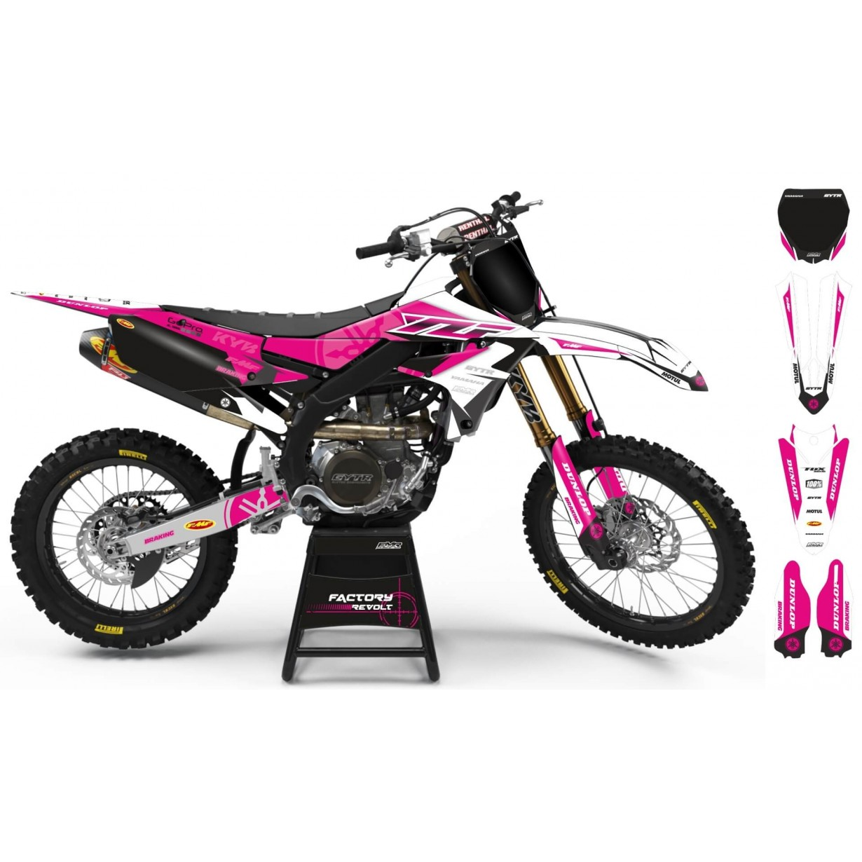 Kit déco Perso YAMAHA Factory Revolt A26E2 white/pink