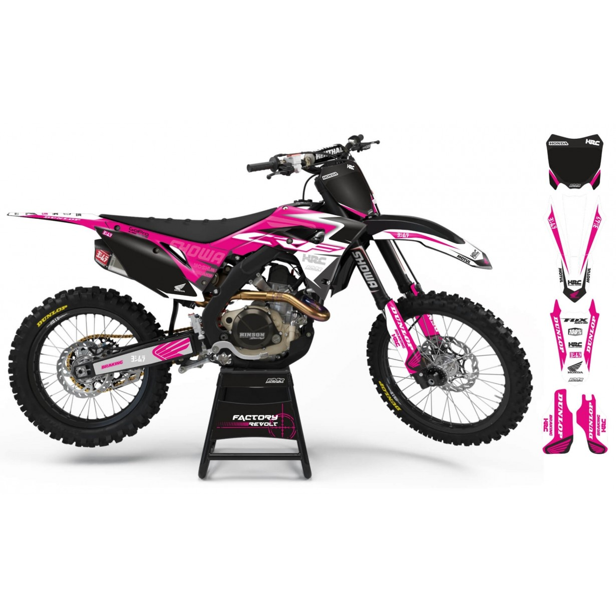 Kit déco Perso HONDA Factory Revolt A26A2 white/pink
