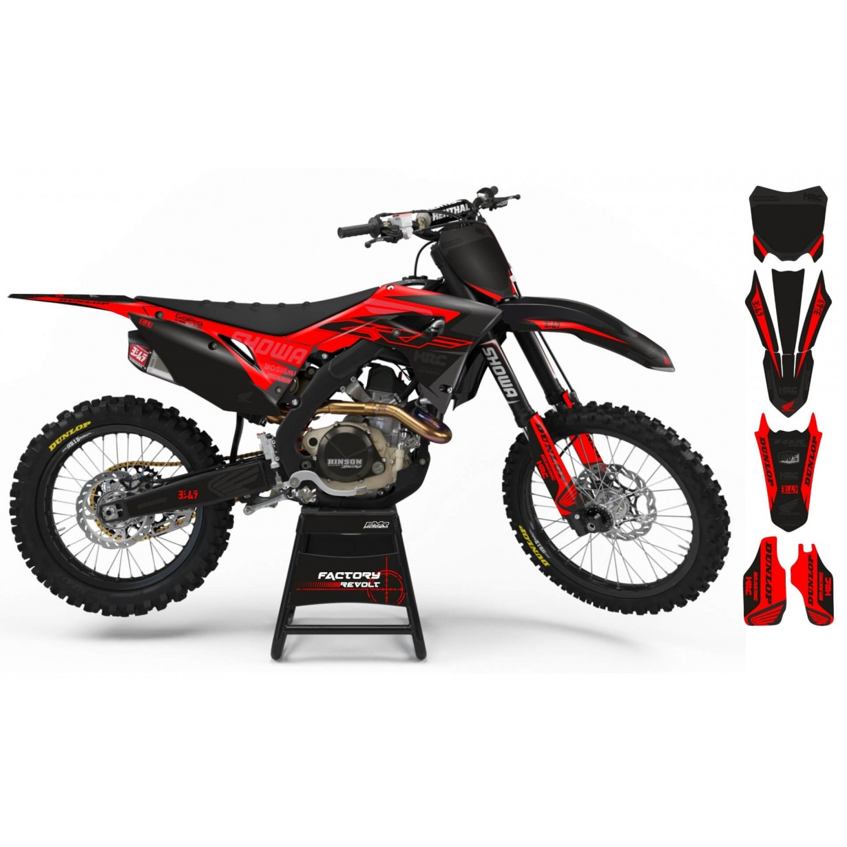 Kit déco Perso HONDA Factory Revolt A26A3 black/red
