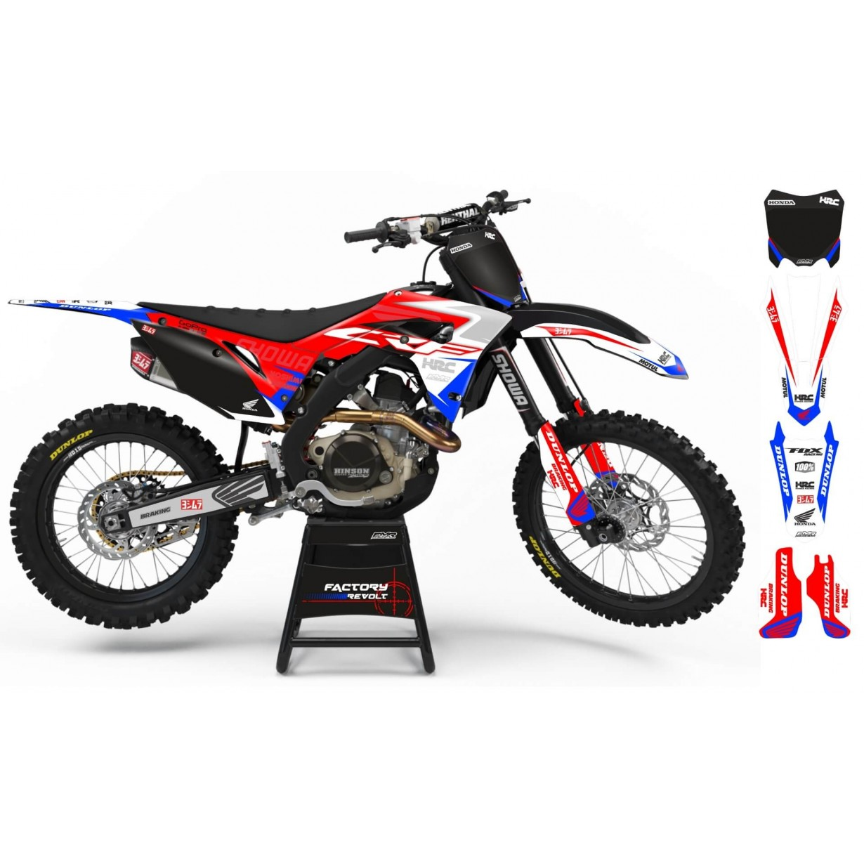 Kit déco Perso HONDA Factory Revolt A26A4 red/blue/white