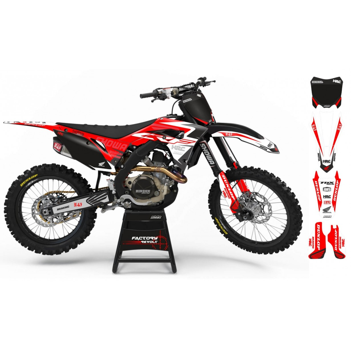 Kit déco Perso HONDA Factory Revolt A26A5 black/red/white