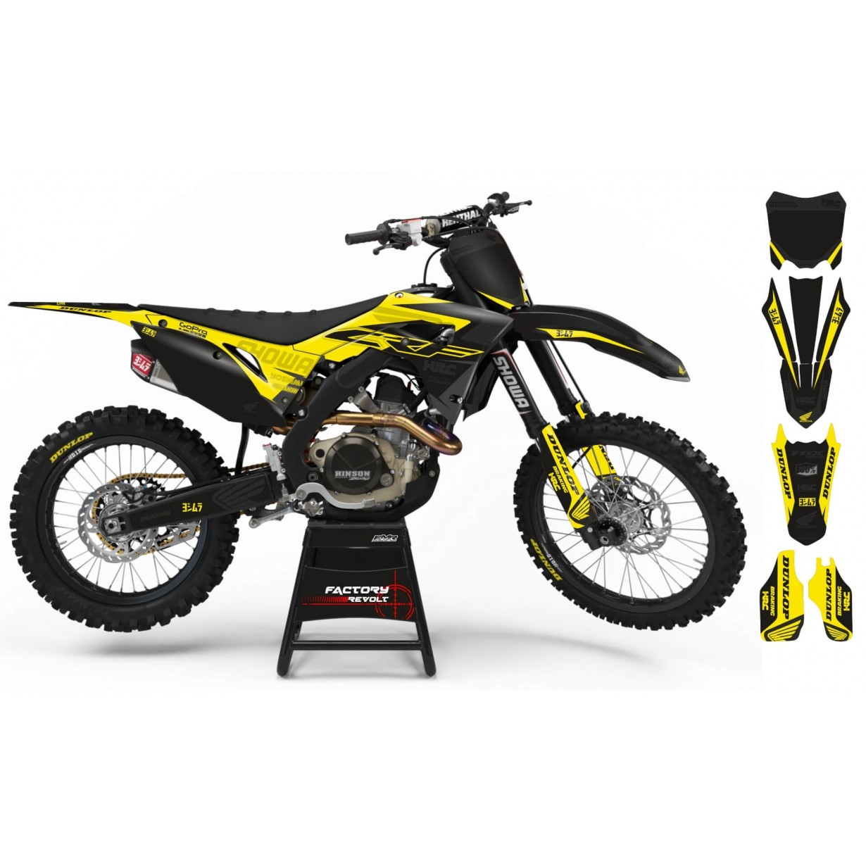 Kit déco Perso HONDA Factory Revolt A26A6 black/yellow