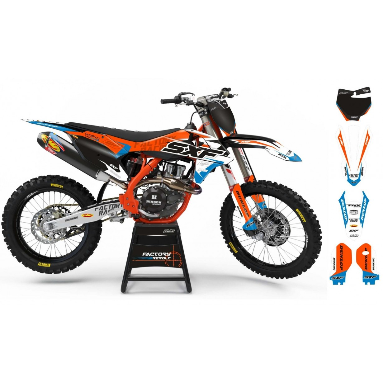 Kit déco Perso KTM Factory Revolt A26C4 orange/white/blue
