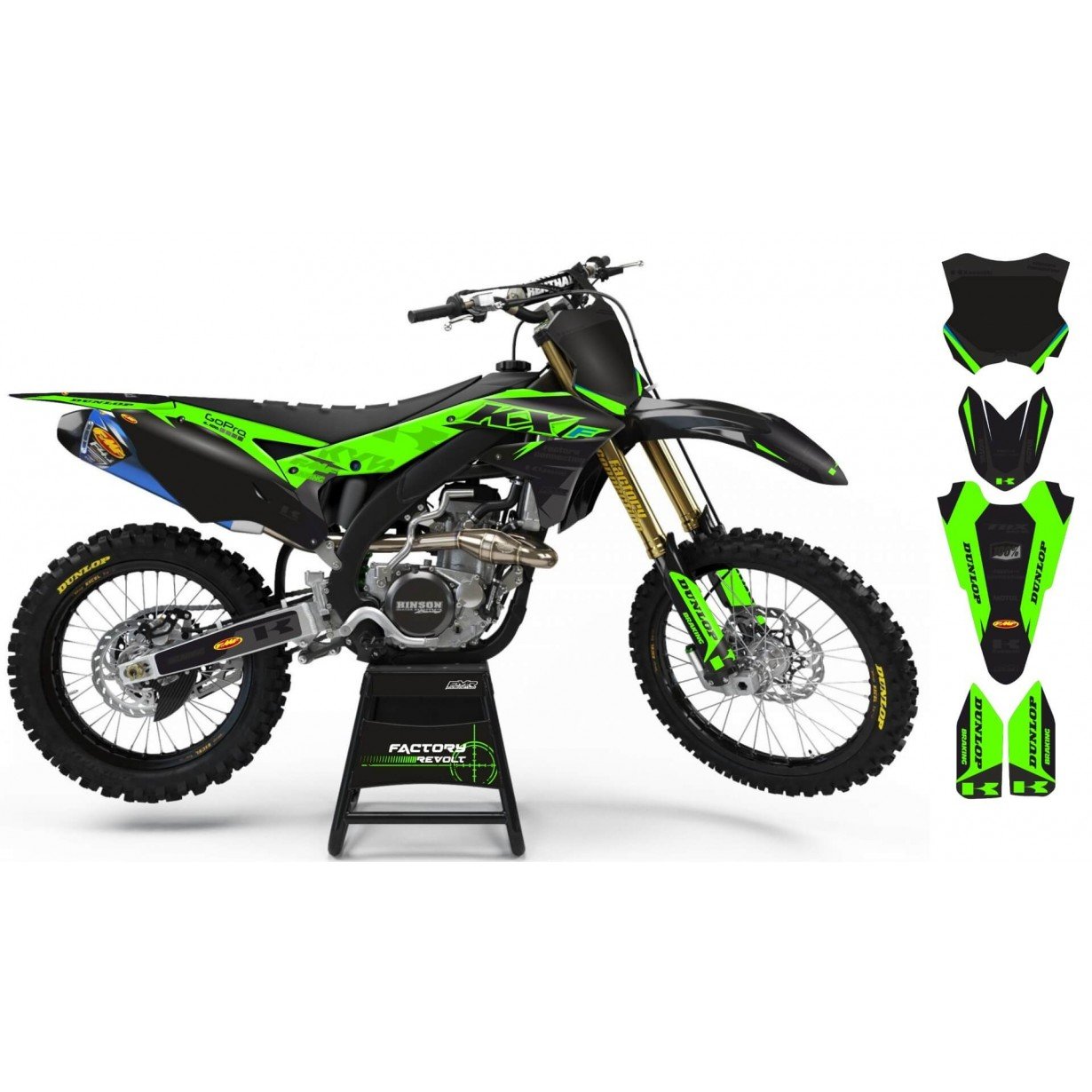 Kit déco Perso KAWASAKI Factory Revolt A26B3 black/green