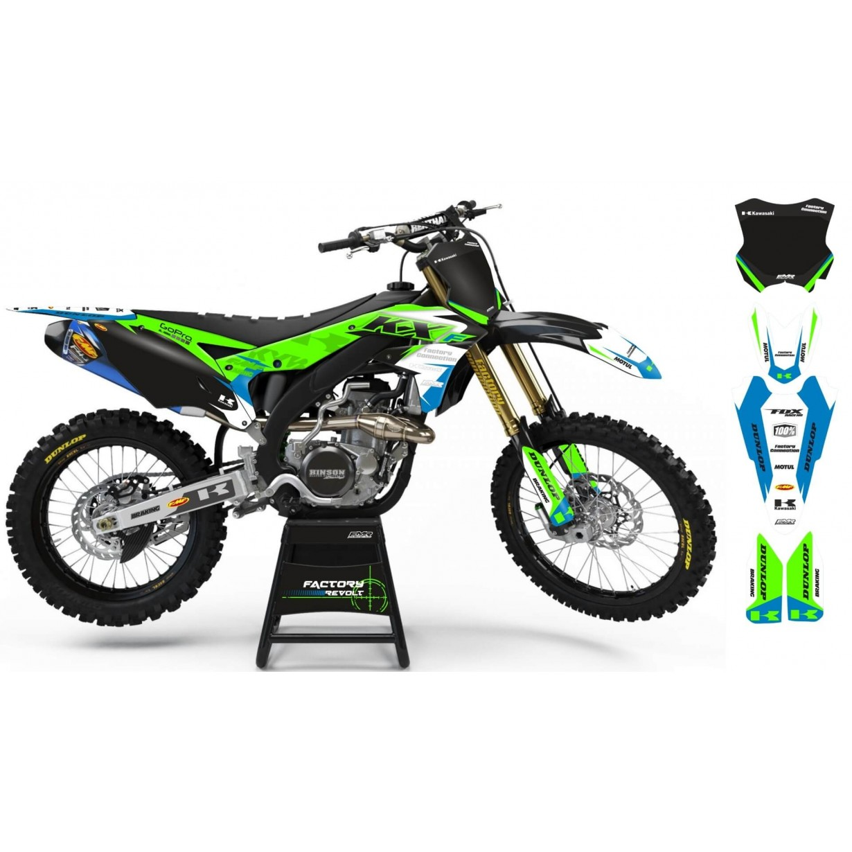 Kit déco Perso KAWASAKI Factory Revolt A26B4 green/white/blue