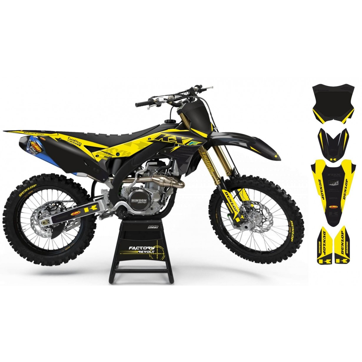 Kit déco Perso KAWASAKI Factory Revolt A26B6 black/yellow