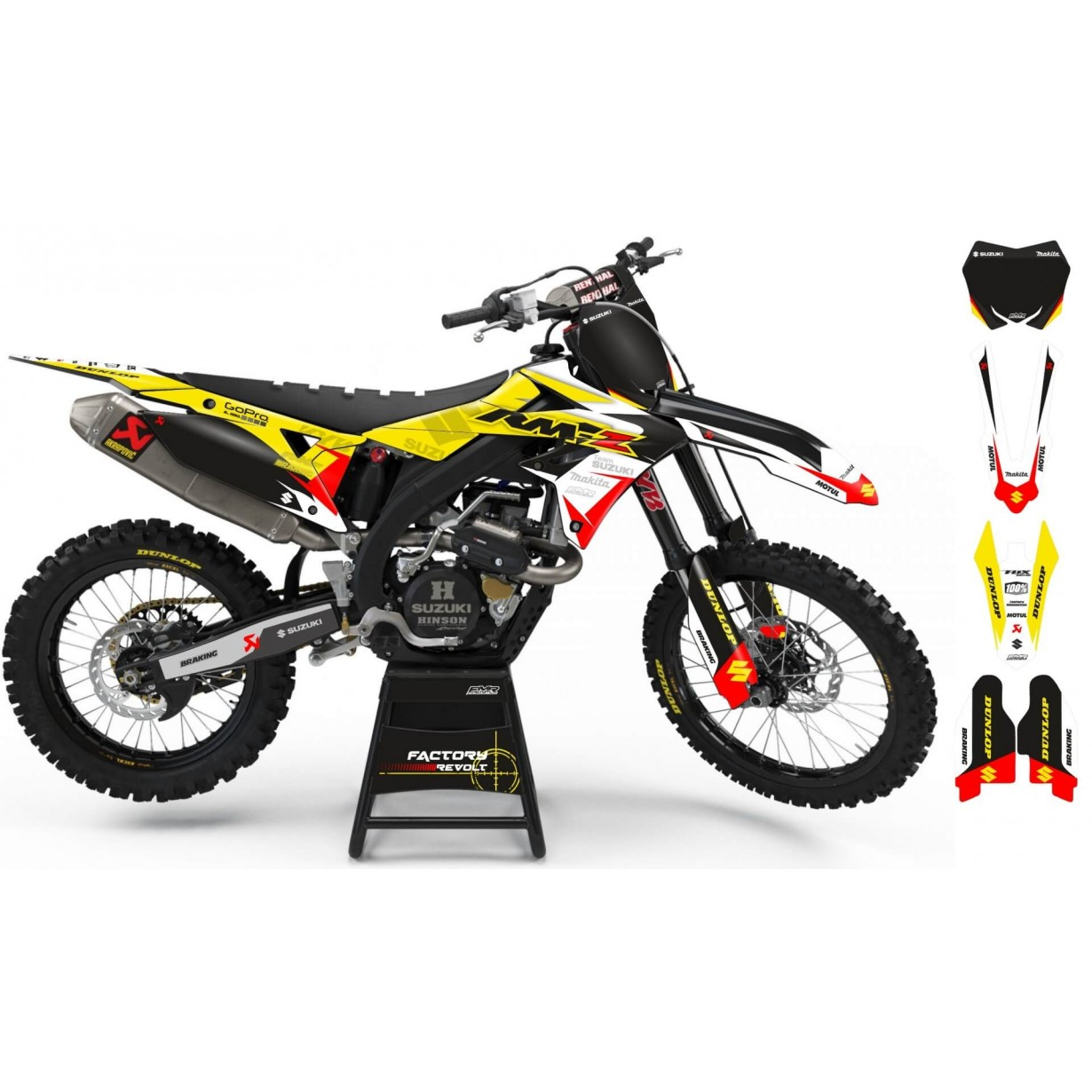Kit déco Perso SUZUKI Factory Revolt A26D4 white/yellow/red